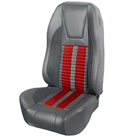 TMI Premium Sport R500 Upholstery & Foam Kit - Gray Vinyl & Red Stripe/Stitch (94-98 All) - TMI 46-76500K-6687-7042-7300-RS||46-76501K-6687-7042-7300-RS