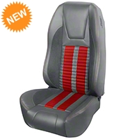 TMI Premium Sport R500 Seat Upgrade - Gray Vinyl & Red Stripe/Stitch (94-98 All) - TMI PARENT
