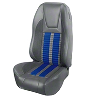 TMI Premium Sport R500 Upholstery & Foam Kit - Gray Vinyl & Blue Stripe/Stitch (94-98 All) - TMI 46-76501K-6687-7042-121-BS