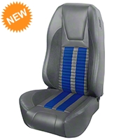 TMI Premium Sport R500 Upholstery & Foam Kit - Gray Vinyl & Blue Stripe/Stitch (94-98 All) - TMI PARENT