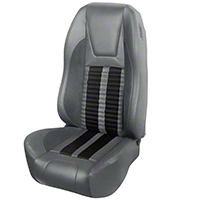 TMI Premium Sport R500 Upholstery & Foam Kit - Gray Vinyl & Black Stripe/Stitch (94-98 All) - TMI 46-76501K-6687-7042-958-BKS