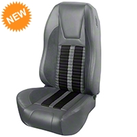 TMI Premium Sport R500 Seat Upgrade - Gray Vinyl & Black Stripe/Stitch (94-98 All) - TMI PARENT