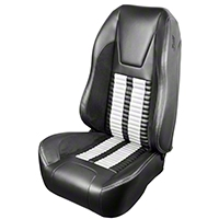 TMI Premium Sport R500 Upholstery & Foam Kit - Gray Vinyl & White Stripe/Stitch (99-04 All) - TMI 46-76510K-6042-7042-2305-WS||46-76511K-6042-7042-2305-WS
