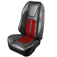 TMI Premium Sport R500 Upholstery & Foam Kit - Gray Vinyl & Red Stripe/Stitch (99-04 All) - TMI 46-76510K-6042-7042-7300-RS||46-76511K-6042-7042-7300-RS