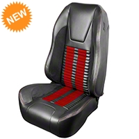TMI Premium Sport R500 Seat Upgrade - Gray Vinyl & Red Stripe/Stitch (99-04 All) - TMI PARENT