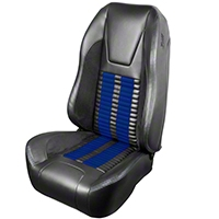 TMI Premium Sport R500 Upholstery & Foam Kit - Gray Vinyl & Blue Stripe/Stitch (99-04 All) - TMI 46-76510K-6042-7042-121-BS||46-76511K-6042-7042-121-BS