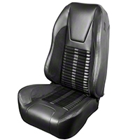 TMI Premium Sport R500 Upholstery & Foam Kit - Gray Vinyl & Black Stripe/Stitch (99-04 All) - TMI 46-76511K-6042-7042-958-BKS