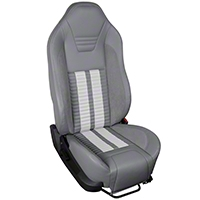 TMI Premium Sport R500 Upholstery & Foam Kit - Gray Vinyl & White Stripe/Stitch (05-07 All) - TMI 46-78500K-985-7042-2305-WS||46-78501K-985-7042-2305-WS