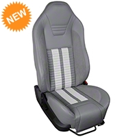 TMI Premium Sport R500 Seat Upgrade - Gray Vinyl & White Stripe/Stitch (05-07 All) - TMI PARENT