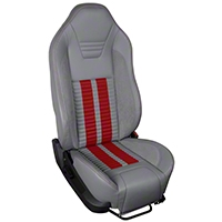 TMI Premium Sport R500 Upholstery & Foam Kit - Gray Vinyl & Red Stripe/Stitch (05-07 All) - TMI 46-78500K-985-7042-7300-RS||46-78501K-985-7042-7300-RS