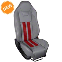 TMI Premium Sport R500 Seat Upgrade - Gray Vinyl & Red Stripe/Stitch (05-07 All) - TMI PARENT