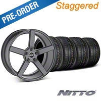 MMD Staggered 551C Charcoal Wheel & NITTO INVO Tire Kit - 19x8.5/10 (05-14 All) - MMD KIT||100253||100254||79520||79521