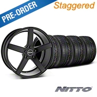 MMD Staggered 551C Black Wheel & NITTO INVO Tire Kit - 19x8.5/10 (05-14 All) - MMD KIT||100255||100256||79520||79521