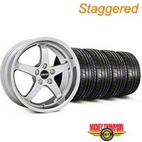 MMD Staggered Kage Polished Wheel & Mickey Thompson Tire Kit - 19x8.5/10 (05-14 GT,V6) - MMD KIT||100271||100272||79539||79540