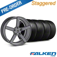 MMD Staggered 551C Charcoal Wheel & Falken Tire Kit - 19x8.5/10 (05-14 All) - MMD KIT||100253||100254||79571||79572