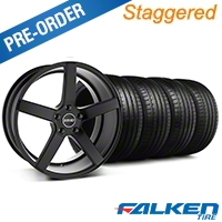 MMD Staggered 551C Black Wheel & Falken Tire Kit - 19x8.5/10 (05-14 All) - MMD KIT||100255||100256||79571||79572
