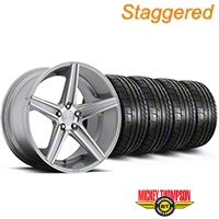 Niche Staggered Apex Machined Silver Wheel & Mickey Thompson Tire Kit - 20x8.5/10 (05-14 All) - Niche KIT||100195||100196||79541||79542