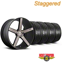 Niche Staggered Milan Matte Black Machined Wheel & Mickey Thompson Tire Kit - 20x8.5/10 (05-14 All) - Niche KIT||100211||100212||79541||79542