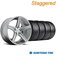 Niche Staggered Apex Machined Silver Wheel & Sumitomo Tire Kit - 20x8.5/10 (05-14 All) - Niche KIT||100195||100196||63024||63025