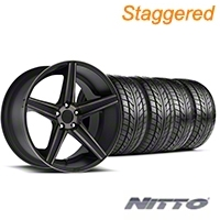 Niche Staggered Apex Matte Black Wheel & NITTO Tire Kit - 20x8.5/10 (05-14 All) - Niche KIT||100193||100194||76005||76006