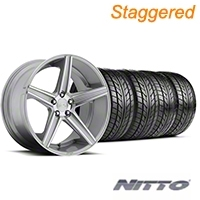 Niche Staggered Apex Machined Silver Wheel & NITTO Tire Kit - 20x8.5/10 (05-14 All) - Niche KIT||100195||100196||76005||76006