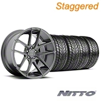 Niche Staggered Targa Matte Anthracite Wheel & NITTO Tire Kit - 20x8.5/10 (05-14 All) - Niche KIT||100203||100204||76005||76006