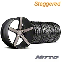 Niche Staggered Milan Matte Black Machined Wheel & NITTO Tire Kit - 20x8.5/10 (05-14 All) - Niche KIT||100211||100212||76005||76006