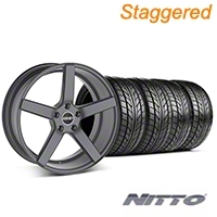 MMD Staggered 551C Charcoal Wheel & NITTO Tire Kit - 20x8.5/10 (05-14 All) - MMD KIT||100259||100260||76005||76006