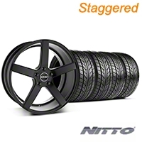 MMD Staggered 551C Black Wheel & NITTO Tire Kit - 20x8.5/10 (05-14 All) - MMD KIT||100261||100262||76005||76006