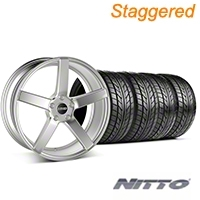MMD Staggered 551C Silver Wheel & NITTO Tire Kit - 20x8.5/10 (05-14 All) - MMD KIT||100263||100264||76005||76006