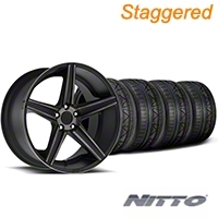 Niche Staggered Apex Matte Black Wheel & NITTO INVO Tire Kit - 20x8.5/10 (05-14 All) - Niche KIT||100193||100194||79524||79525