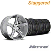 Niche Staggered Apex Machined Silver Wheel & NITTO INVO Tire Kit - 20x8.5/10 (05-14 All) - Niche KIT||100195||100196||79524||79525