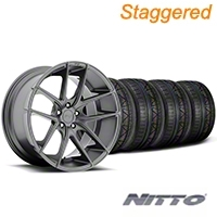 Niche Staggered Targa Matte Anthracite Wheel & NITTO INVO Tire Kit - 20x8.5/10 (05-14 All) - Niche KIT||100203||100204||79524||79525