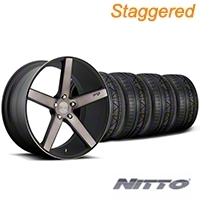 Niche Staggered Milan Matte Black Machined Wheel & NITTO INVO Tire Kit - 20x8.5/10 (05-14 All) - Niche KIT||100211||100212||79524||79525