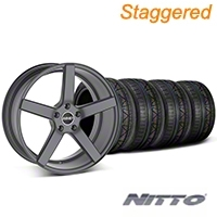 MMD Staggered 551C Charcoal Wheel & NITTO INVO Tire Kit - 20x8.5/10 (05-14 All) - MMD KIT||100259||100260||79524||79525