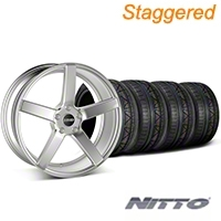 MMD Staggered 551C Silver Wheel & NITTO INVO Tire Kit - 20x8.5/10 (05-14 All) - MMD KIT||100263||100264||79524||79525