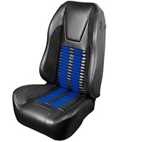 TMI Premium Sport R500 Upholstery & Foam Kit - Black Vinyl & Blue Stripe/Stitch (99-04 All) - TMI 46-76510K-6525-99-121-BS||46-76511K-6525-99-121-BS