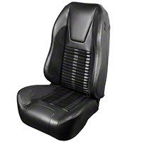 TMI Premium Sport R500 Upholstery & Foam Kit - Black Vinyl & Black Stripe/Stitch (99-04 All) - TMI 46-76511K-6525-99-958-BKS