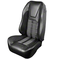 TMI Premium Sport R500 Upholstery & Foam Kit - Black Vinyl & Gray Stripe/Stitch (99-04 All) - TMI 46-76510K-6525-99-972-GS||46-76511K-6525-99-972-GS