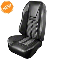 TMI Premium Sport R500 Seat Upgrade - Black Vinyl & Gray Stripe/Stitch (99-04 All) - TMI Parent