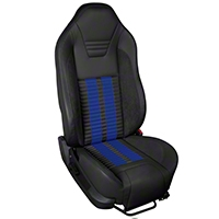 TMI Premium Sport R500 Upholstery & Foam Kit - Black Vinyl & Blue Stripe/Stitch (05-07 All) - TMI 46-78500K-6525-99-121-BS||46-78501K-6525-99-121-BS