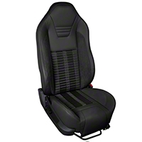 TMI Premium Sport R500 Upholstery & Foam Kit - Black Vinyl & Black Stripe/Stitch (05-07 All) - TMI 46-78501K-6525-99-6525-BKS
