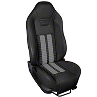 TMI Premium Sport R500 Upholstery & Foam Kit - Black Vinyl & Gray Stripe/Stitch (05-07 All) - TMI 46-78500K-6525-99-972-GS||46-78501K-6525-99-972-GS