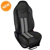 TMI Premium Sport R500 Seat Upgrade - Black Vinyl & Gray Stripe/Stitch (05-07 All) - TMI Parent