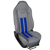 TMI Premium Sport R500 Upholstery & Foam Kit - Gray Vinyl & Blue Stripe/Stitch (05-07 All) - TMI 46-78501K-985-7042-121-BS