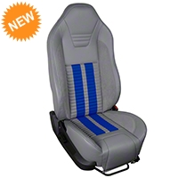 TMI Premium Sport R500 Upholstery & Foam Kit - Gray Vinyl & Blue Stripe/Stitch (05-07 All) - TMI PARENT