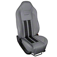 TMI Premium Sport R500 Upholstery & Foam Kit - Gray Vinyl & Black Stripe/Stitch (05-07 All) - TMI 46-78501K-985-7042-6525-BKS