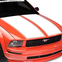 American Muscle Graphics Dual Hood Stripe - White (05-09 All) - American Muscle Graphics 101073