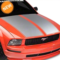 American Muscle Graphics Dual Hood Stripe - Silver (05-09 All) - American Muscle Graphics 101074