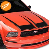 American Muscle Graphics Pinstriped Hood Decal - Matte Black (05-09 All) - American Muscle Graphics 101075